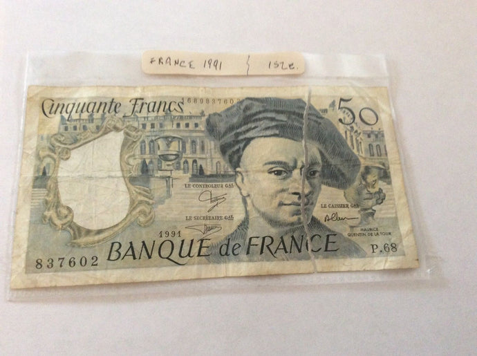 France 50 Francs Banknote Serial Number 837602 Banque DevFrance 1991 Torn