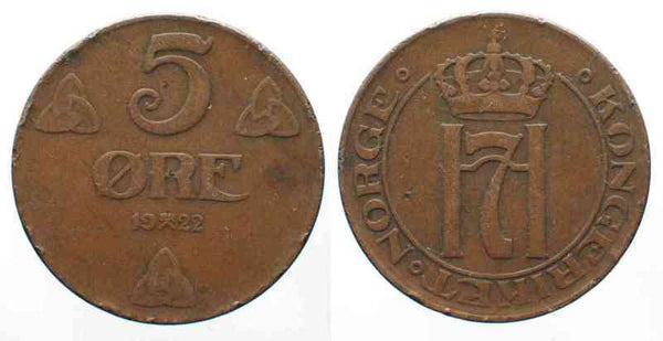 Norway European 5 Ore Coinage Norge