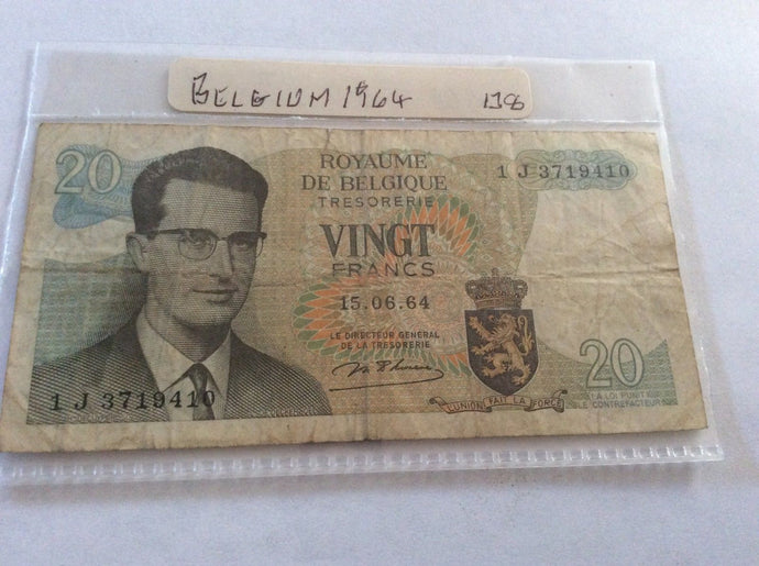 Belgium 20 Frank Banknote June 15 1964 Serial Number 1 J 3719410