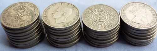2 Shillings Pre Decimal British Florin Two Bob: earlier coins silver up to 1946