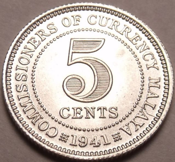 Malaya 5 Five Cents Coins 1900 - 1959