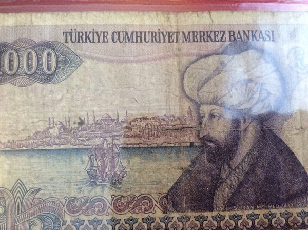 Turkey 1000 Turkish Lira Banknote Date 1970 Serial Number G42255167 Initial G