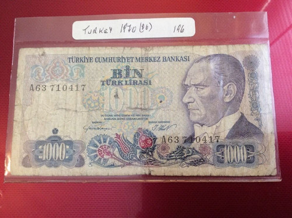 Turkey 1000 Turkish Lira Banknote Date 1970 Serial Number A63 710417 Initial A