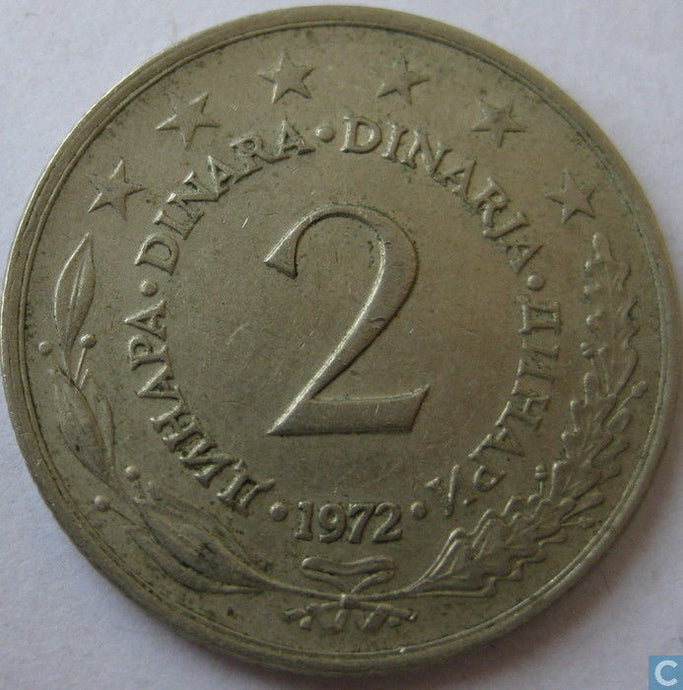 2 - Two Dinar Coins Yugoslavia Eastern Europe Circulated Coinage