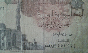 Egypt 1 Egyption Pound Banknote Serial Number in photo (009) Circulated