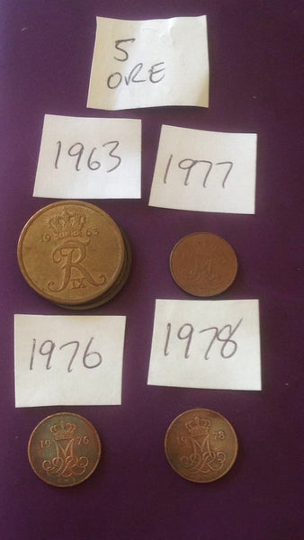 5 Five Ore Danish Coin Denmark Europe  Danmark
