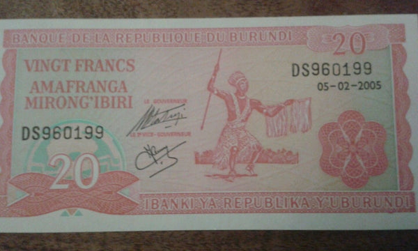 Burundi 20 Francs Banknote Serial Number DS960199 initials DS