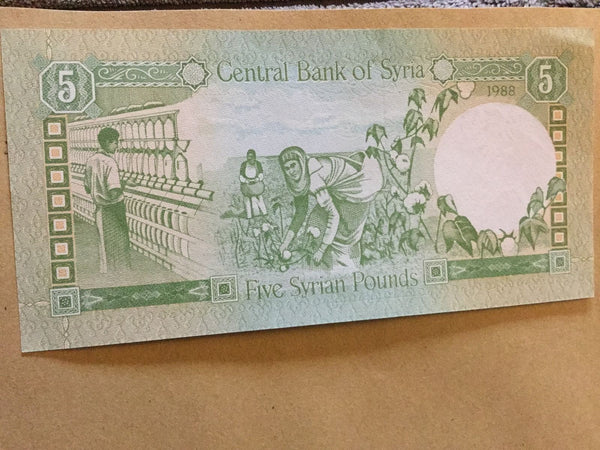 Syria 5 Syrian Pounds Banknote Date 1988 Serial Number In Photo (3)