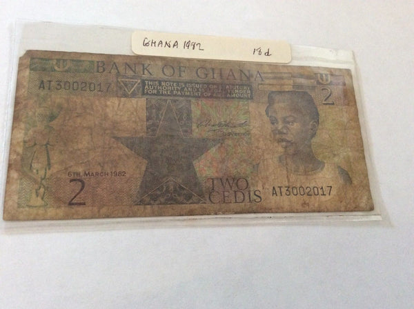 Ghana 2 Cedis Banknote Serial Number AT3002017 Bank Of Ghana 1982 Initial AT
