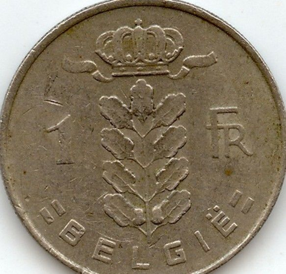 Belgium 1 Franc Frank Coins Belgique Belgian European Good Condition