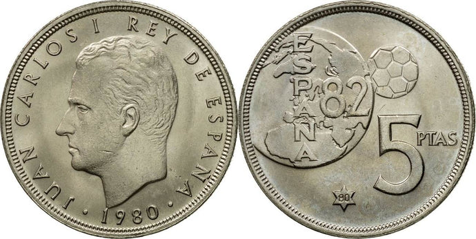 Spanish - 5 Pesetas - 1980 - Circulated - Stamped - TGBCH - COA