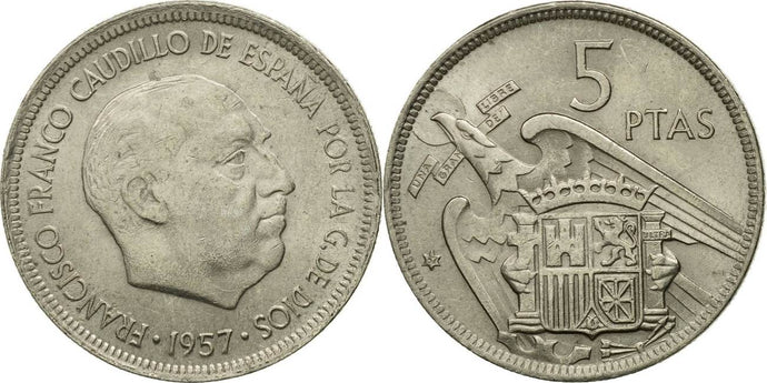 Spanish - 5 Pesetas - 1957 - Circulated - Stamped - TGBCH - COA