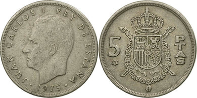 Spanish - 5 Pesetas - 1975 - Circulated - Stamped - TGBCH - COA