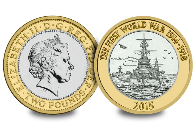 2015 - First World War Royal Navy - £2 - Circulated - Stamped - TGBCH - COA