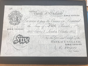 Rare White Fiver £5 Banknote Chief Cashier A98A 093040 Fantastic Condition 7th October 1955 AA