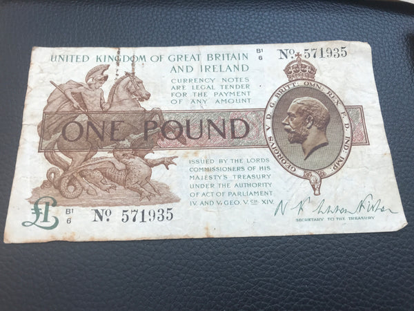 £1 Banknote N K Warren Fisher Chief Cashier Choose Serial Number