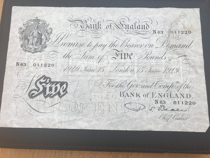 Rare White Fiver £5 Banknote Chief Cashier P.S. Beale N63 011220 Circulated Condition 15th June 1945