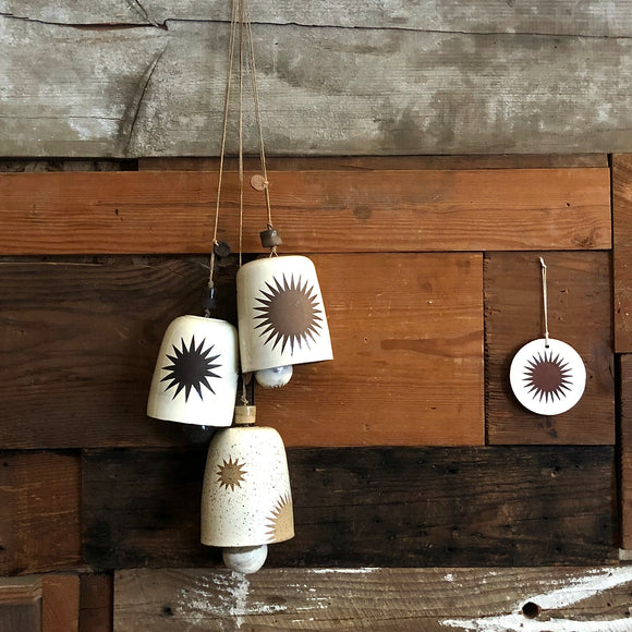 Hanging ceramic bell chimes