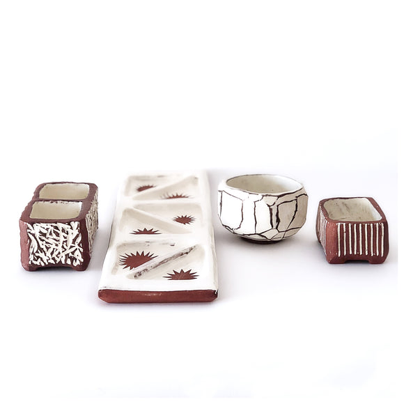Kurinuki boxes and tea bowls