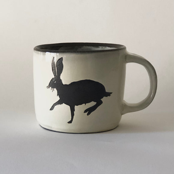 Chocolate Stoneware Running Rabbit Mug