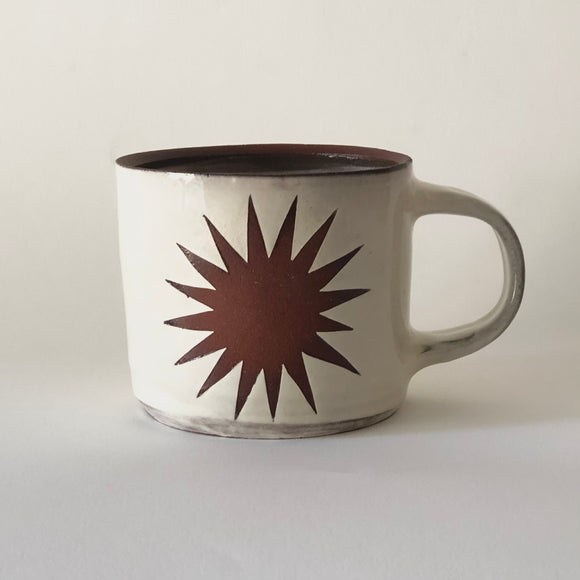 Red Stoneware Star Mug