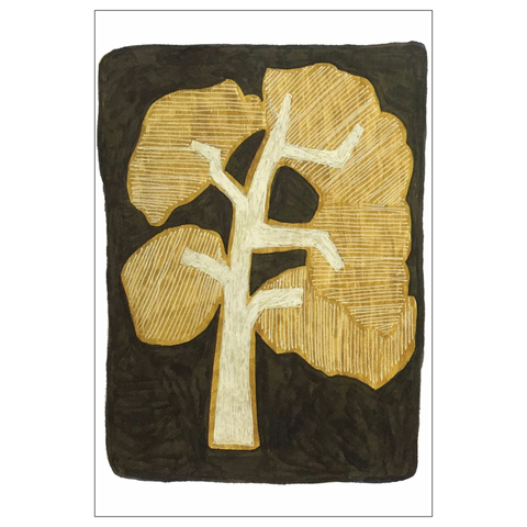 Gold Oak Tree Note Card