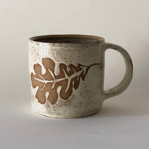 Speckled Stoneware Oak Leaf Mug