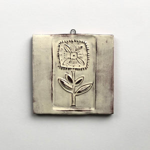 Square Folk Flower -Medium Square Wall Plaque