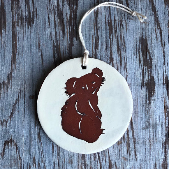 Ivory/Red Iron Koala Bear Ornament