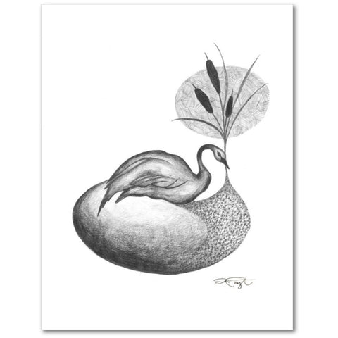 Swan in the Reeds Fine Art Giclee Print