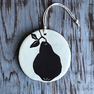 Ivory/Chocolate Pear Ornament
