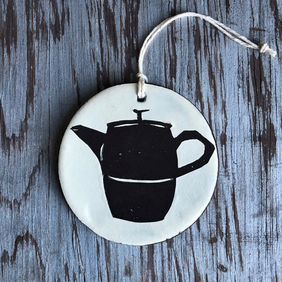 Ivory/Chocolate Tea Pot Ornament