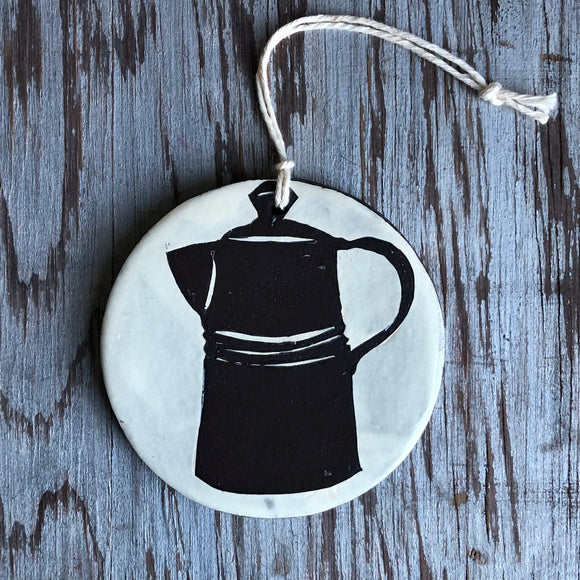 Ivory/Chocolate Coffee Pot Ornament