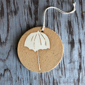 Speckled Clay/Ivory Umbrella Ornament