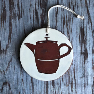 Ivory/Red Clay Tea Pot Ornament