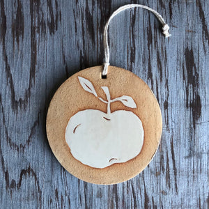 Gold Clay/Ivory Apple Ornament