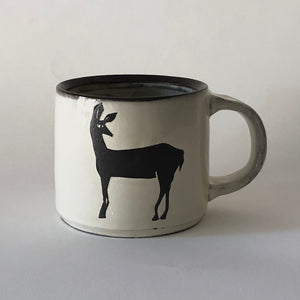 Chocolate Stoneware Glancing Dear Mug