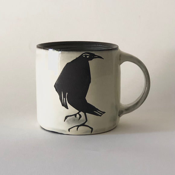 Chocolate Stoneware Crow Mug