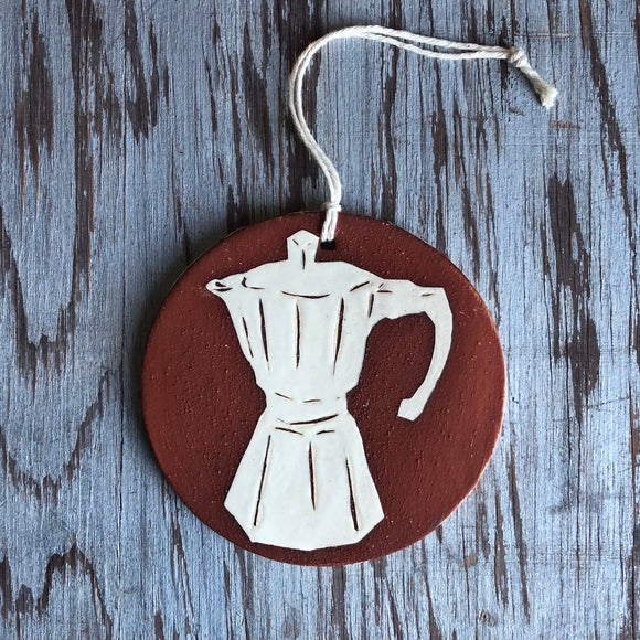Red Clay/Ivory Moka Pot Ornament