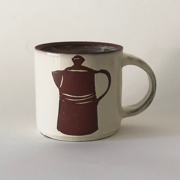 Red Stoneware Coffee PotMug