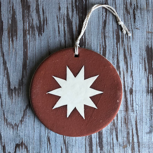 Red Clay/Ivory Star Ornament