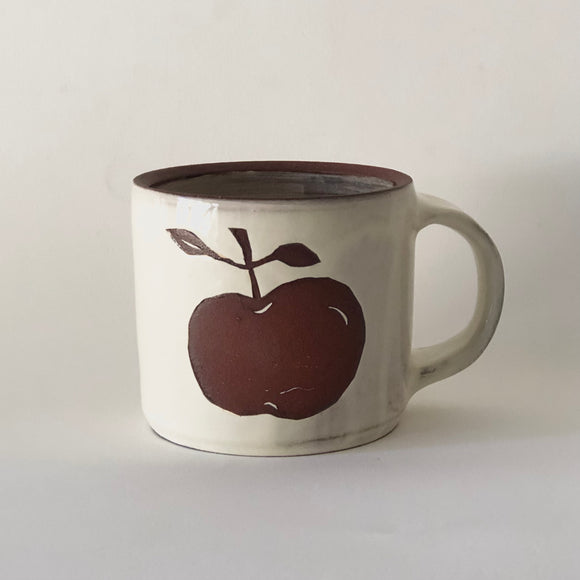 Red Stoneware Apple Mug