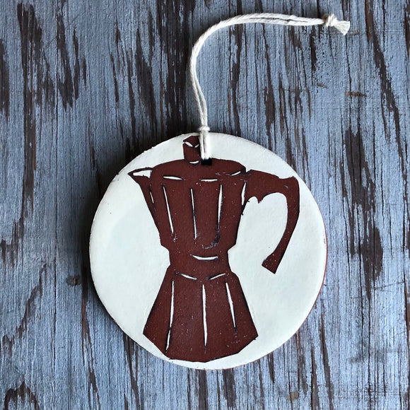 Ivory/Red Clay Moka Pot Ornament