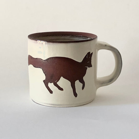 Red Stoneware Fox Mug