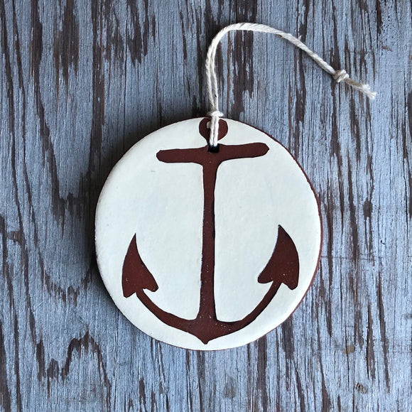 Ivory/Red Clay Anchor Ornament