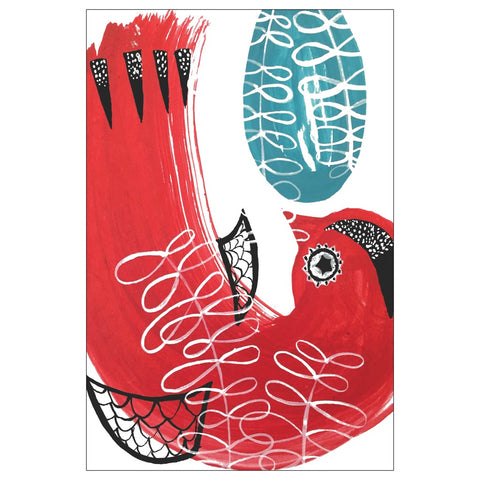 Red Bird Note Card
