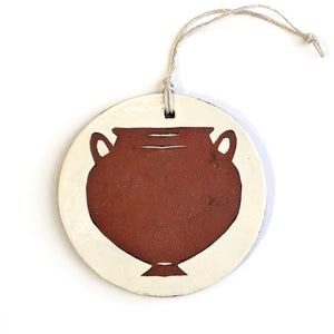 Red Round Amphora Ornament