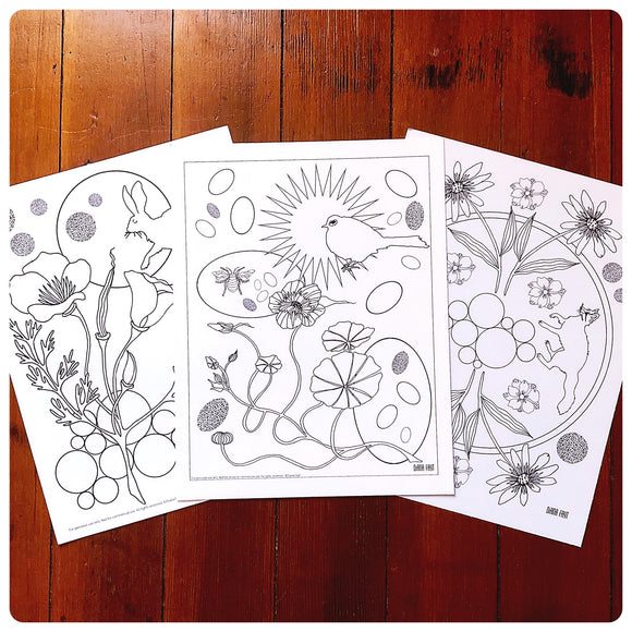 Set of 3 Coloring Pages