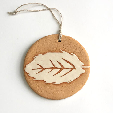 Ivory/Gold Oak Leaf Ornament