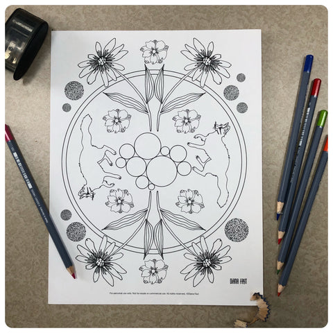 Foxes + Flowers Coloring Page
